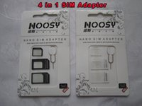 4 en 1 Noosy Nano restauré carte Micro SIM éjecter Pin pour Iphone 5 5S Iphone4 4 4S 6 6S Plus Carte SIM aiguille Retail Box Samsung High Qualit