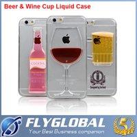For Apple iPhone Plastic Orange Exclusive 3D Red Wine Cup Liquid Transparent Hard Case Cover For Apple iPhone 5s 6 6plus S6 5C Phone Cases Flowing Wine Back Covers