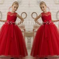 Wholesale Red Vest For Kids - Red Sheer Neck Beaded Sash Ball Gown Tulle Baby Girl Dresses Kids Dresses For Wedding Kids Wedding Dresses Flower Girl Dresses