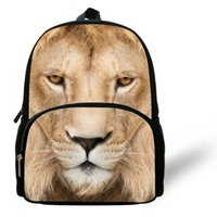 Moda de 12 pulgadas Lion School Bag Niños Mochila Boys Animal Prints Edad 1-6 Chidren Lion Head Backapck Para Escuela Casual Daypack