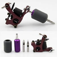Wholesale Tattoo Cover Kit - Wholesale- Tattoo Kit Red Coil Tattoo Machine Gun for Liner 10 Wrap Coils Purple Non-Slip Grip Black Cover 2pcs Tips Shader Supplies