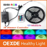 Wholesale 12 Volt Adapters - RGB Changeable 12 volt IP65 led lights 5050 Flexible Strip Light Super 5M 300 led + 24 Key IR Remote Controller + Power Adapter