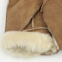 Wholesale Tan Fingerless Gloves - Wholesale-1 Pair PU Leather Gloves Men Fingerless Gloves Wool Winter Gloves Light Tan Warm High Quality