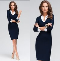 Wholesale Women Tights Winter Wear - Hot Sale Women Dress 2015 New Brand Fashion V-neck Tights Work Wear Winter Dress Plus Size White Collar Casual Office Dress Blue