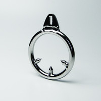 Wholesale Metal Cock Rings Chastity - Barbed Anti-off Ring For Cock Cage Stainless Steel Male Chastity Device CBT Toys Metal BDSM Toys Bondage Gear Adult Sex Toys For Men