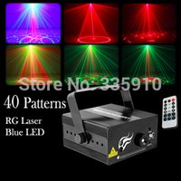 Gros-40Gobos Laser Mini Green Light Laser Rouge 3W LED bleue Télécommande Stage Lighting Effect
