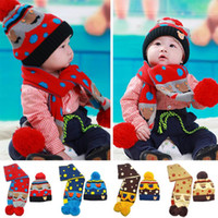 Wholesale Little Bear Hat - Wholesale-2015 new winter little bear bears added velvet hat+scarf suits,boy and girl caps,(4 colors)free shipping