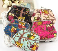 Wholesale Hot fashion Stylist Multichoice Color Owl Patten PU Women Girls Coin Money Bag Purse Wallet Cheap Free Ship