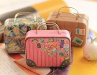Wholesale Decoration Suitcase - Hot Vintage Suitcase Shape Candy Storage Box Wedding Favor Tin Box Sundries Organizer Container Small Decoration