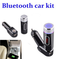 Wholesale Bluetooth A2dp Car Radio - Newest Wireless A2DP Bluetooth Car Kit Handsfree Car MP3 Player Universal FM Transmitter Modulator USB Charger Bluetooth Hands Free DHL Free