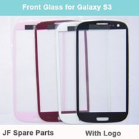 Wholesale Replacement Glass Galaxy S3 Red - Wholesale-Screen Glass Lens Front Cover For Samsung Galaxy SIII S3 i9300 Replacement Part Black White Pink Red 10PCS Lot