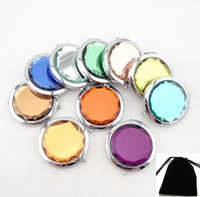 Wholesale Crystal Mirror Logo - Logo Print colorful Cosmetic Pocket Compact Stainless Makeup Mirrors Travel Must Nice Bag Fashion Cute Design DHL Free Ship