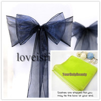 Wholesale Fabric Sheers - 20 colors--25pcs 20cm x 275cm Sheer Organza Sashes Wedding Party Banquet Chair Organza Sash Bow--Lowest Price