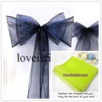 ziyafet yayları toptan satış-20 renkler-25 adet 20 cm x 275 cm Sheer Organze Sashes Düğün Ziyafet Sandalye Organze Kanat Bow-Düşük Fiyat