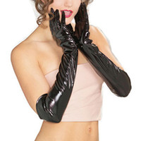 Wholesale Long Leather Evening Gloves - Wholesale- Fashion New Evening Party Elbow Length Patent Leather Luxury Women Long Gloves Black Color Flexible Sexy Elegant Longer Gloves