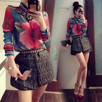 Wholesale Lady Flower Blouse - New women Vintage full Floral Print Long Sleeve Blouse Shirts lady fashion flower chiffon Shirt blouses top B11 CB034030