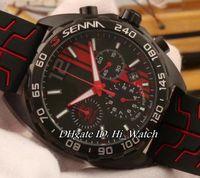 Wholesale Rubber Formula - Super Clone Luxury F1 FORMULA 1 Black Steel Black Red Dial Miyota Quartz Chronograph Mens Watch Rubber Stopwatch Seena Watches TGA180a