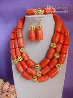 Wholesale Drum Coral Beads - Top Fashion Festivity Party Engagement Anniversary Wedding Women Pink Drum Bead Three Strand Coral J