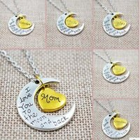 Wholesale Brother Love - Body meaning necklace i love you Mom daughter sister brother Pendant Family European and American selling couple necklace HOT Moon Rings