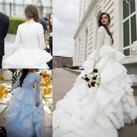 Wholesale apple beach - 2017 New Long Sleeves Winter A-line Wedding Dresses Lace Beaded Top Tiered Ruffles Plus Size Bridal Gowns with Chapel Train BA0626