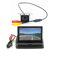 "Wholesale Dvr System Lcd Monitor - 4.3"" LCD Folding Monitor Night Vision Car DVR Rear View System Backup Reverse Camera Kit"