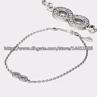 Wholesale Sterling Silver European Style Beads - 100% 925 Sterling Silver Symbol of Infinity Bracelet with Clear Cz Fits Pandora Style Jewelry Charms and Beads