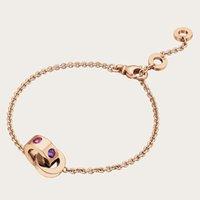 Wholesale Tourmaline Titanium Bracelet - Brand Jewelry 3 Colors Titanium BRACELET 18K Gold with Purple crystal & Pink Tourmaline Charm Chain Bracelets for Women Fashion Gifts