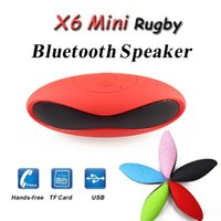 Wholesale Rugby Smartphone - Mini X6U Bluetooth Speakers Rugby Football X6 Portable Wireless Speaker Soccer Bassball Super Bass Mic for Smartphone iPhone 6 iPad HTC S6