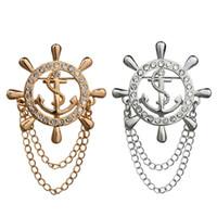 dümen çapası donanması toptan satış-Yeni Varış Kore Moda Kristal Zincir Püskül Donanma Çapalar Dümen Broş Yaka Erkekler Ve Kadınlar Için Toptan 12 Adet