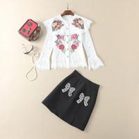 Wholesale two piece dresses diamond - European and American women's wear in 2018 The new winter cross-stitch Bud silk shirt Diamond-encrusted skirt suit