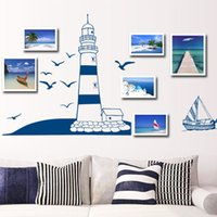 Wholesale Sailing Boat Murals - Removable Wall Sticker Blue Sailing Boat Tower Photo Art Decals Mural DIY Wallpaper for Room Decal 22.5 * 50cm, dandys