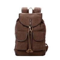 Wholesale Vintage Hiking Backpacks - TSD Vintage Men Casual Canvas Leather Backpack Rucksack Bookbag Satchel Hiking Bag 603212 coffee free shipping