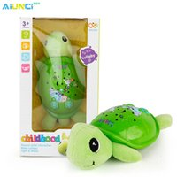 Wholesale Plastic Turtles - Wholesale- AIUNCI Toys Plush Baby Musical Toys Appease Infants Turtle Stuffed Animal Dolls With Lighgt And Projection For baby 0-13 years