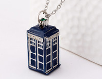 Wholesale Police Box Charm - Doctor Who Tardis Necklace Police Box Necklace Retro Style Silver Bronzed blue Color Mix