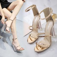 New Model Women Transparent High Heels Pumps Open Toe Sandals Clear Chunky Heels Sexy Ladies Party Wedding Fashion Shoes