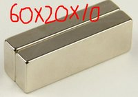 Wholesale Hong Kong Wholesales - 60*20*10 2pcs x Super Strong Neodymium Block magnet 60 x 20 x 10 mm Magnets N35 Grade Rare Earth hong kong shipping
