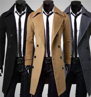 Wholesale Single Button Pea Coat - 2016 New Brand Autumn mens long pea coat Men's woolen Coat Turn down Collar Double Breasted men trench coat