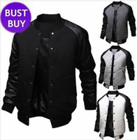 Dropshipping Baseball Jacket Leather Black Men UK | Free UK ...