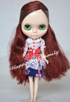 """Wholesale Nude Dolls Small - Wholesale-12"""" nude Blyth doll,brown red long hair, beautiful girl, shipping free,small defective items, eyechip is random"""