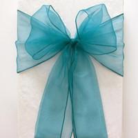 ingrosso coperture di sedia blu-100 Pz / lotto 18 CM * 275 CM Teal Blu Organza Sedia Telai Festa di Nozze Banchetto Copertura Dell'arco Sedia Decorazione Forniture -ASH