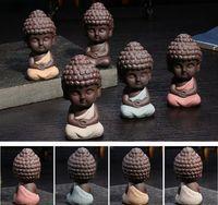 Wholesale small buddhas - Small Buddha Statue Monk Figure India Yoga Mandala Tea Pet Ceramic Crafts Decorative 4 Styles OOA3705