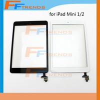 замена мини-сенсорной панели ipad оптовых-Для iPad Mini 1 Mini 2 Сенсорный Экран Digitizer в сборе с IC и Главная Кнопка Стекло Замена Сенсорной Панели PWhite Черный DH