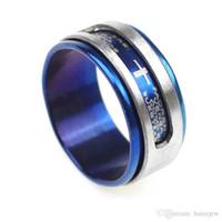 anéis maçônicos dos homens venda por atacado-Anéis de Aço inoxidável China Moda Steampunk Masonic Mens Cruzes Anéis Anéis de Aço Inoxidável Jóias Masculina Azul Atacado