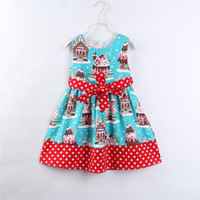 Wholesale girls polka dot ruffle dress resale online - 2018 new style baby girls dress full printed cake cute girl skirts polka dots sleeveless children dresses with bow