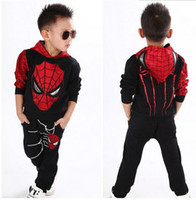 Wholesale Costumes Party Fantasy - Marvel Comic Classic Spiderman Child Costume, Kids boys fantasia Halloween fantasy fancy superhero carnival party dress