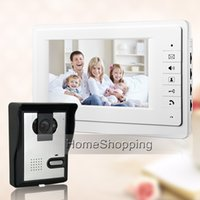 "Wholesale Color Video Door Monitor - FREE SHIPPING New 7"" Color Screen Video Intercom Door Phone Set 1 White Monitor + Waterproof Doorbell Camera In Stock Wholesale"