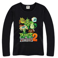 Wholesale Plants Vs Zombies Clothing - Wholesale-Free shipping 2015 autumn Plants vs Zombies T-shirt Children's clothes boy cartoon long sleeve T-shirt