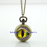 Eyeball Montre de Poche Bijoux Dragon Eye Bijoux en Verre Cabochon Locket Collier Antique Montre de Poche Collier WT - 0075