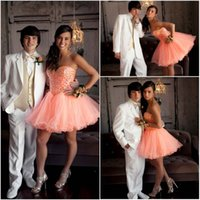 Sexy PinK Ball Gown Crystal Short Homecoming Dresses vestido de 15 anos curto Beautiful Organza Rhinestone Short Party grade 8 выпускной