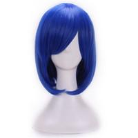синий парик высокого качества оптовых-WoodFestival дешевые синтетические парики для женщин термостойкие волокна парик темно-синий боб парик косплей темно-синий парики высокое качество